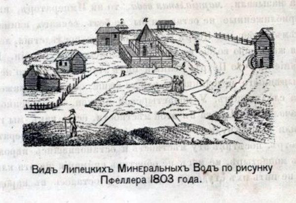 1803 год. Вид Липецких Минеральных вод по рисунку Пфеллера