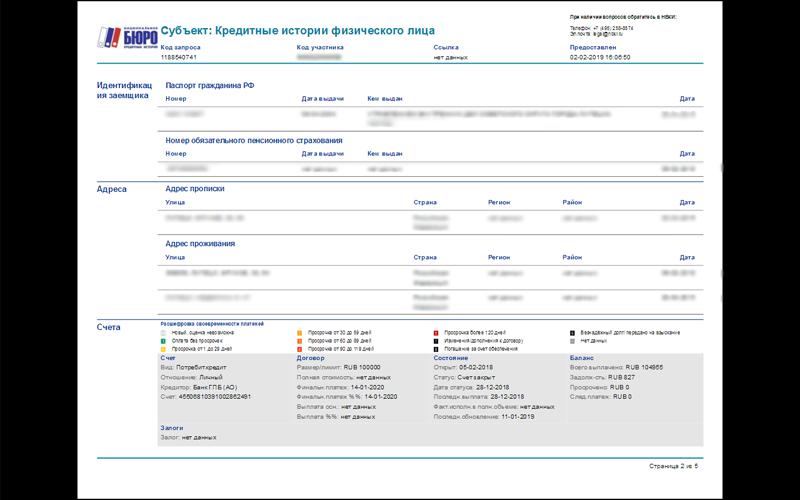 Типовой отчет о кредитной истории физического лица